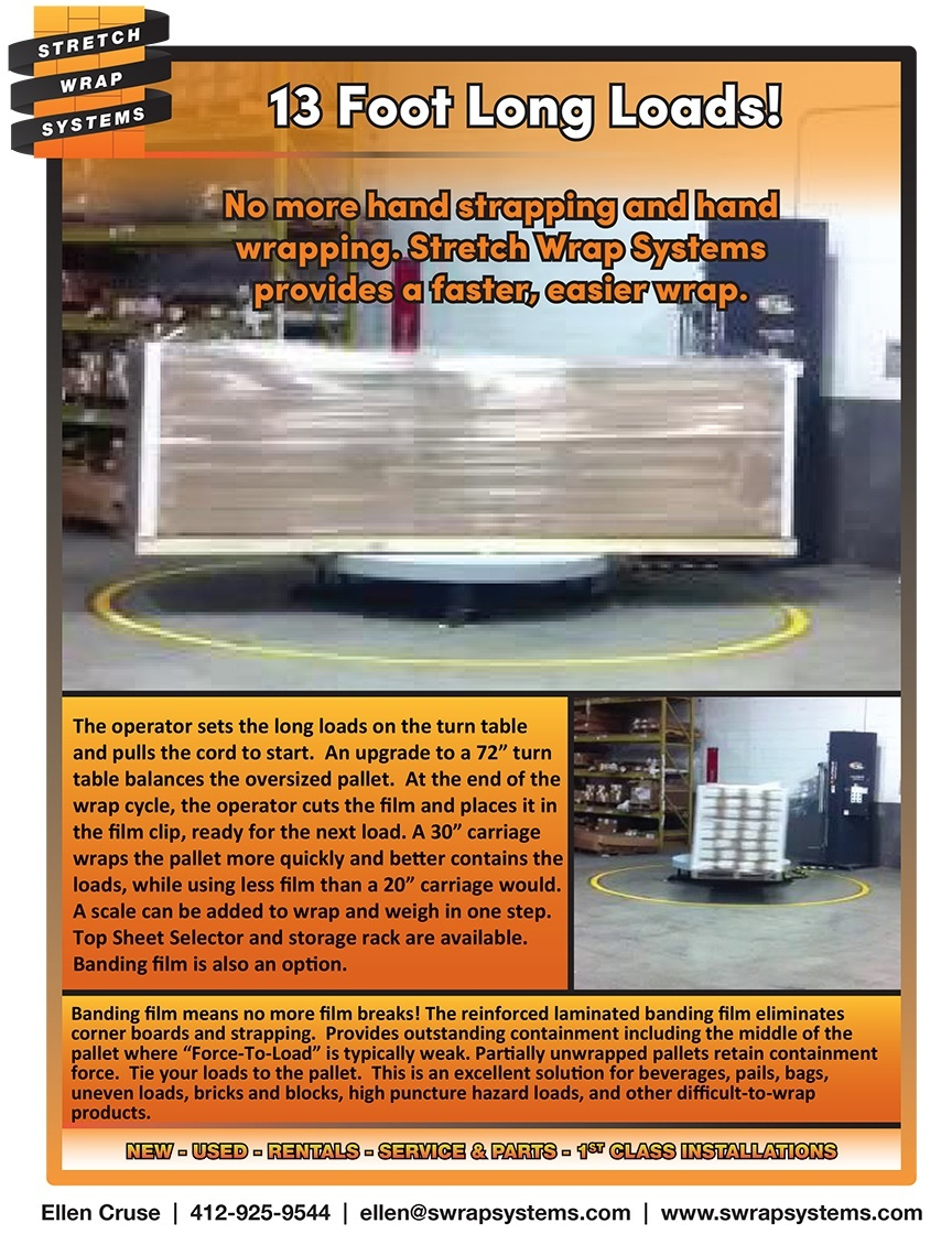74 - 13' Long Pallets wrapped on a special Turn Table - SWS Packaging